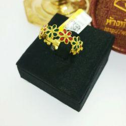 แหวน ดอกไม้ลงยารอบวง