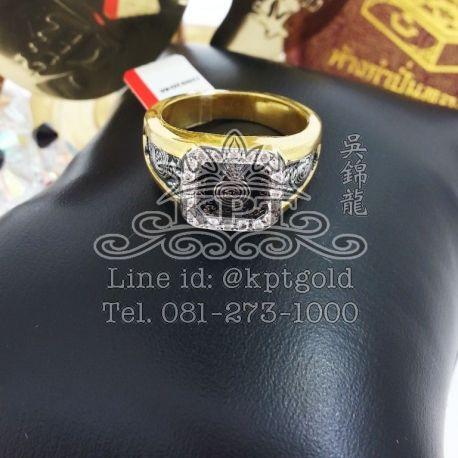 แหวน หลวงพ่อเอียดจับขอบลงยาสีดำ