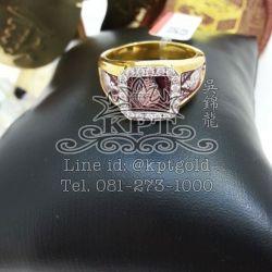 แหวน หลวงพ่อเอียดจับขอบลงยาสีแดง