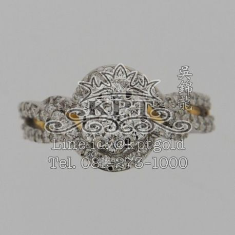 แหวนเพชร เม็ดกลาง 8.5ตัง ล้อมด้วยเพชร 0.735กะรัตรวม 60 เม็ด