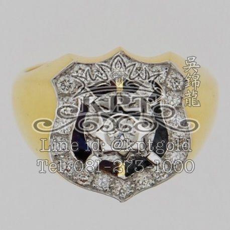 แหวนตำรวจ ฝังเพชรกลางน้ำหนัก 8 ตัง และเม็ดรอบรวม 0.335 กะรัต รวม 20 เม็ด